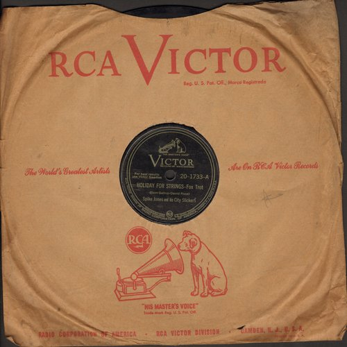 Jones, Spike & His City Slickers - Holiday For Strings/Drip, Drip, Drip (10 inch 78rpm record with vintage RCA Victor company sleeve) - VG7/ - 78 rpm