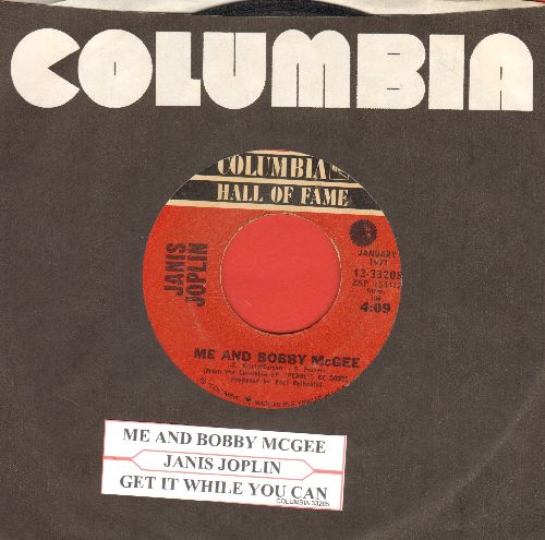 Joplin, Janis - Me And Bobby McGee/Get It While You Can (double-hit re-issue with juke box label and company sleeve) - VG7/ - 45 rpm Records