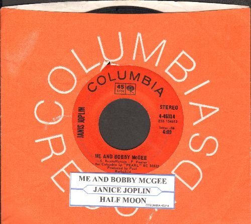Joplin, Janis - Me And Bobby McGee/Half Moon (with juke box label and Columbia company sleeve) - VG7/ - 45 rpm Records