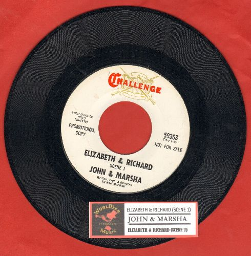 John & Marsha - Elizabeth & Richard (Scenes 1 + 2) (RARE Novelty Record capitalizing on the Global Tabloid Sensation caused by Elizabeth Taylor and Richard Burton, DJ advance pressing with juke box label) - NM9/ - 45 rpm Records