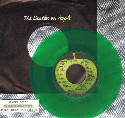 Lennon, John & Plastic Ono Band - Happy C-Mas (War Is Over)/Listen The Snow Is Falling) (RARE Green Vinyl pressing (with juke box label and Apple company sleeve)(wol) - VG7/ - 45 rpm Records
