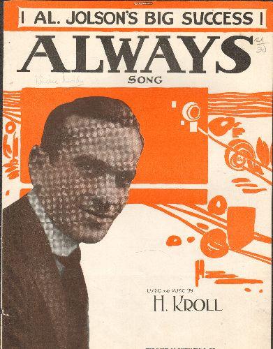 Joslon, Al - Always - Vintage 1921 SHEET MUSIC featuring Al Jolson on cover! - VG7/ - Sheet Music