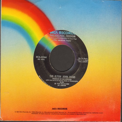 John, Elton - Philadelphia Freedom/I Saw Her Standing There (with John Lennon) - EX8/ - 45 rpm Records