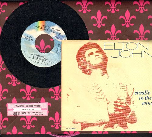 John, Elton - Candle In The Wind (first issue with picture sleeve, original version written as tribute to Marilyn Monroe, later inspired tribute to Princess Diana, lyrics on back of picture sleeve and juke box label)/Sorry Seems To Be The Hardest Word - N