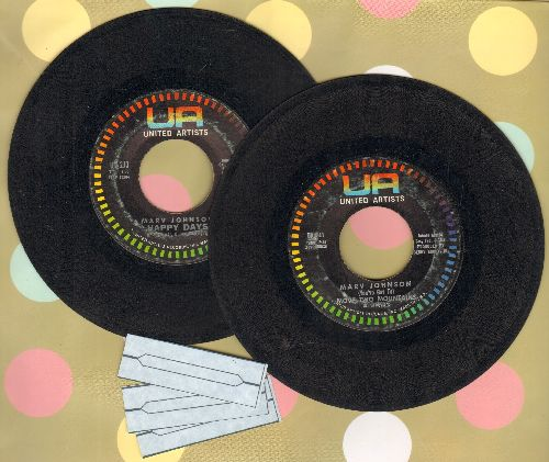 Johnson, Marv - 2 For 1 Special: Happy Days/(You've Got To) Move Two Mountains (first pressings shipped in plain white paper sleeves with 3 blank juke box labels) - VG7/ - 45 rpm Records