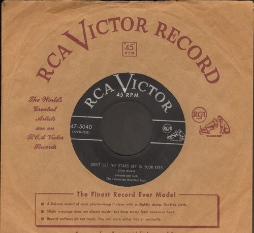 Johnnie & Jack - Don't Let The Stars Get In Your Eyes/The Only One I Ever Loved I Lost (with vintage RCA company sleeve) - VG7/ - 45 rpm Records