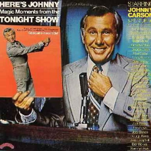 Carson, Johnny, guests - Here's Johnny - Magic Moments from the Tonight Show starring Johnny Carson, featuring Groucho Marx, Judy Garland, Lucille Ball, Jack Benny, George Burns, Don Rickles, Bette Midler, George Carlin, others (2 vinyl STEREO LP record s