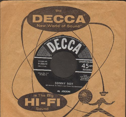 Jolson, Al - Sonny Boy/My Mammy (black label/silver lines without star early 1950s pressing with Decca company sleeve) - VG7/ - 45 rpm Records