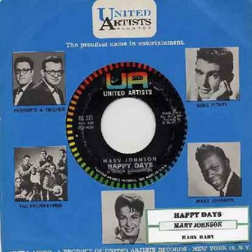 Johnson, Marv - Happy Days/Baby, Baby (with vintage United Artists company sleeve) - EX8/ - 45 rpm Records