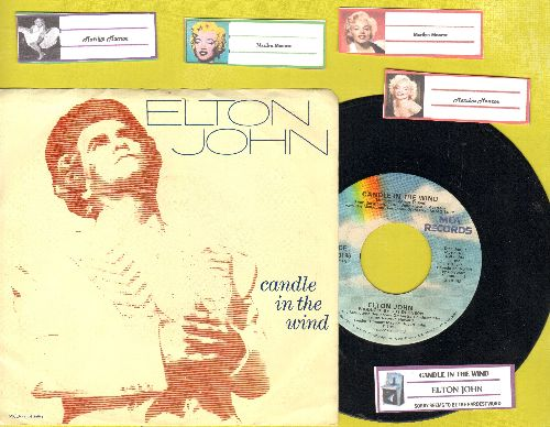 John, Elton - Candle In The Wind (Original 1987 version as an ode to Marilyn Monroe)/Sorry Seems To Be The Hardest Word (with juke box labels and picture sleeve) - EX8/EX8 - 45 rpm Records