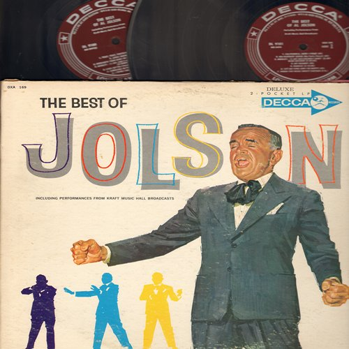 Jolson, Al - The Best Of Jolson: Swanee, You Made Me Love You, Sonny Boy, Toot Toot Tootsie Goodbye, Carolina In The Morning, My Mammy, Easter Parade, Ol' Man River, Anniversary Song (2 vinyl LP record set, burgundy label 1960s MONO gate-fold issue) - NM9