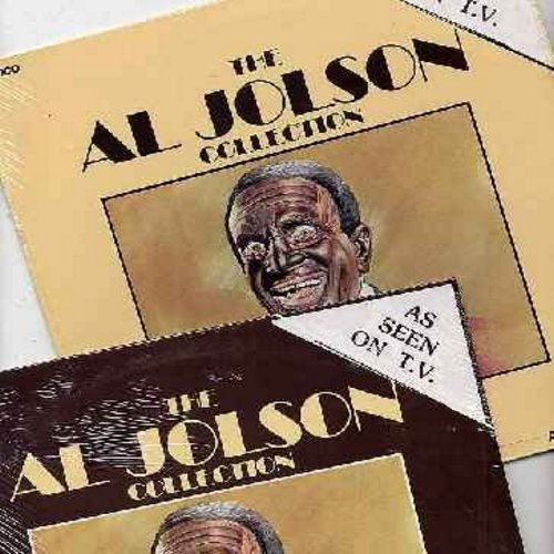 Jolson, Al - Al Jolson's Greatest Hits - 2 vinyl LP record albums featuring 40 Songs made popular by one of the 20th Century's Greatest Entertainers! Songs include Sonny Boy, Pretty Baby, California Here I Come, Swanee, Baby Face, My Mammy, For Me And My