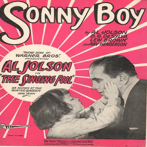 Jolson, Al - Sonny Boy - Vintage SHEET MUSIC for Al Johnson's signature song, beautiful cover art, NICE condition, suitable for framing! (This is SHEET MUSIC, not any other kind of media!) - EX8/ - Sheet Music