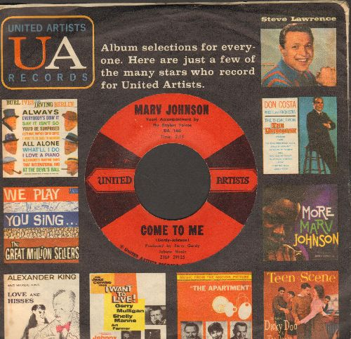 Johnson, Marv - Come To Me/Whisper (with vintage United Artists company sleeve) - EX8/ - 45 rpm Records