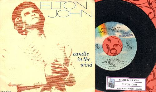 John, Elton - Candle In The Wind/Sorry Seems To Be The Hardest Word (with juke box label and picture sleeve, original version written as tribute to Marilyn Monroe, later inspired tribute to Princess Diana, lyrics on back of picture sleeve and juke box lab