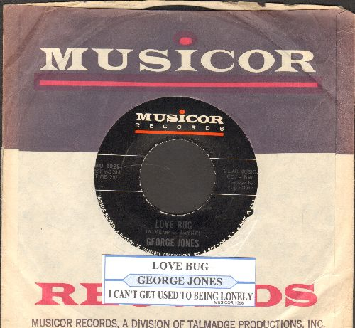 Jones, George - Love Bug/I Can't Get Used To Being Lonely (with juke box label and Musicor company sleeve) - EX8/ - 45 rpm Records