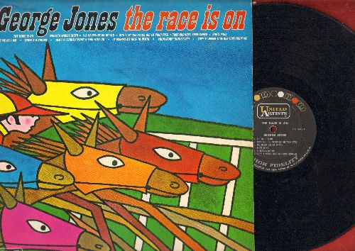 Jones, George - The Race Is On: Three's A Crowd, She's Mine, It Scares Me Half To Death, Take Me As I Am (Vinyl MONO LP record) - VG7/EX8 - LP Records
