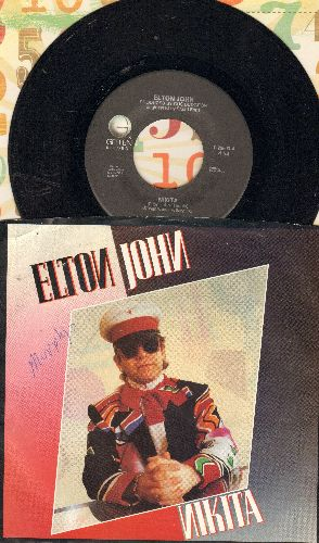 John, Elton - Nikita/Restless ('Cold War' Theme) (with picture sleeve and juke box label) - EX8/VG7 - 45 rpm Records