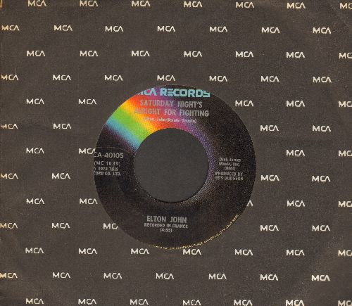 John, Elton - Saturday Night's Alright For Fighting/Jack Rabbit/Whenever You're Ready (with MCA company sleeve) - EX8/ - 45 rpm Records