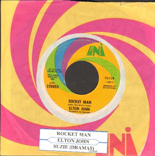 John, Elton - Rocket Man/Suzie (Dramas) (with juke box label and Uni company sleeve) - EX8/ - 45 rpm Records