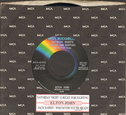 John, Elton - Saturday Night's Alright For Fighting/Jack Rabbit/Whenever You're Ready (with MCA company sleeve and juke box label) - NM9/ - 45 rpm Records
