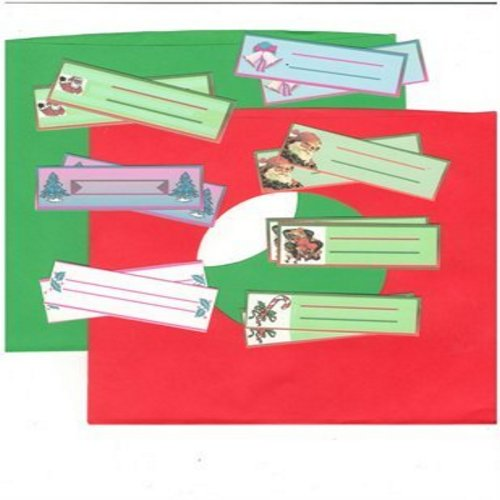 Juke Box Labels - 14 blank Juke Box Labels with 7 different Christmas Themed Designs (2 labels of each design, EXACTLY as pictured!). GREAT for a juke box or to dress up your Christmas 45s! - /M10/M10 - Supplies