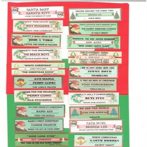 Juke Box Labels - 20 different Juke Box Labels of Classic Christmas 45s (EXACTLY as pictured). The Biggest Christmas Novelty Hits! GREAT for a juke box or to dress up your vintage vinyl Christmas collection! - /EX8 - Supplies