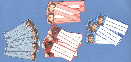Custom Juke Box Labels - 20 juke box labels picturing popular Rock & Roll Idols. Set includes 5 each of Elvis Presley, Sam Cooke, Ricky Nelson and Buddy Holly. Adds a nice touch to collectible records! - /M10 - Supplies