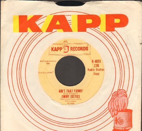 Justice, Jimmy - Ain't That Funny/One (DJ advance pressing with vintage Kapp company sleeve) - EX8/ - 45 rpm Records