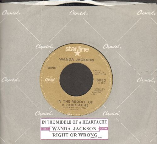 Jackson, Wanda - In The Middle Of A Heartache/Right Or Wrong (doubel-hit re-issue with Capitol company sleeve)  - NM9/ - 45 rpm Records