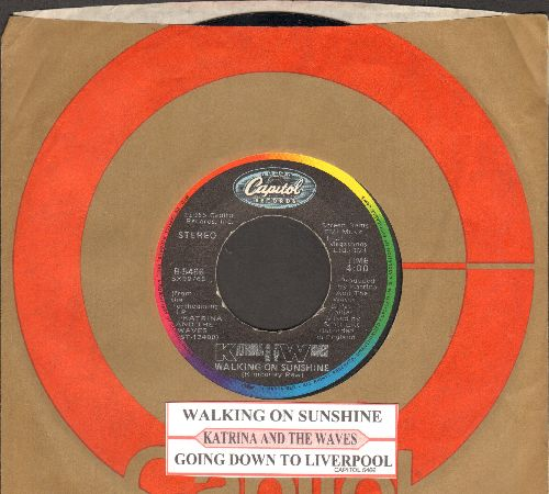 Katrina & The Waves - Walking On Sunshine/Going Down To Liverpool (with juke box label and company sleeve) - NM9/ - 45 rpm Records