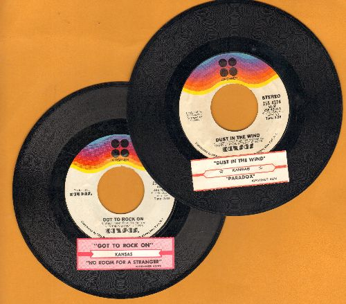 Kansas - 2 first issue 45s with juke box label for the price of 1! GREAT for a juke box! - EX8/ - 45 rpm Records