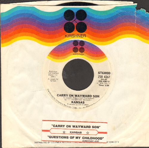 Kansas - Carry On Wayward Son/Questions Of My Childhood (with juke box label and  Kirshner company sleeve) - NM9/ - 45 rpm Records