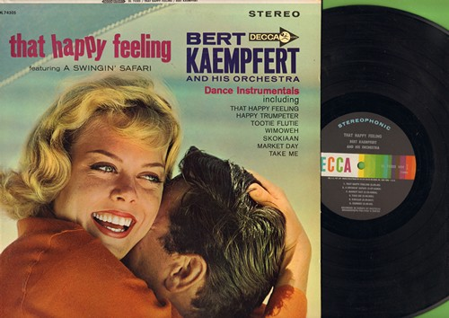 Kaempfert, Bert & His Orchestra - That Happy Feeling: Skokiaan (FANTASTIC Instrumental version of the African Folk Favorite!), Happy Trumpeter, Wimoweh, Tootie Flutie (Vinyl STEREO LP record) - NM9/NM9 - LP Records