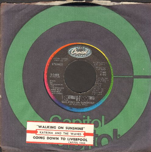 Katrina & The Waves - Walking On Sunshine/Going Down To Liverpool (with Capitol company sleeve and juke box label) - EX8/ - 45 rpm Records