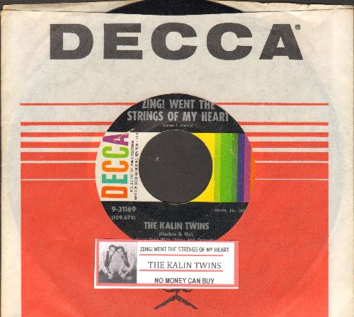 Kalin Twins - Zing! Went The Strings Of My Heart (FANTASTIC Rock & Roll Version of the Hanley Standard!)/No Money Can Buy (with juke box label and Decca company sleeve)  - EX8/ - 45 rpm Records
