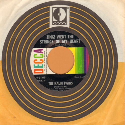 Kalin Twins - Zing! Went The Strings Of My Heart (FANTASTIC Rock & Roll Version of the Hanley Standard!)/No Money Can Buy (MINT condition with Decca company sleeve) - M10/ - 45 rpm Records