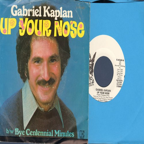 Kaplan, Gabriel - Up Your Nose (double-A-sided DJ advance pressing featuring MONO and STEREO version of Novelty Hit, with picture sleeve) - M10/VG7 - 45 rpm Records