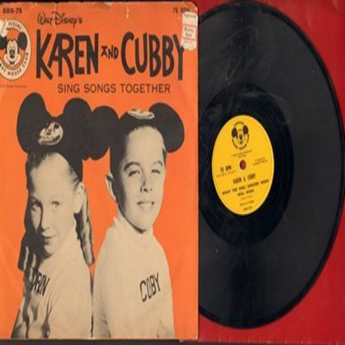 Karen & Cubby - Bidin' My Time/Rollin' Stone/What The Well Dressed Hobo/Will Wear (10 inch 78rpm record, with picture cover, NICE cover portrait of Mouseketeers Karen & Cubby) - EX8/VG7 - 78 rpm