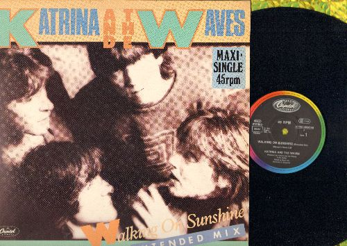 Katrina & The Waves - Walking On Sunshine (5:57 minutes Extended Mix + 4:00 minutes Version)/Going Down To Liverpool (4:30 Minutes Version)(12 inch 45 rpm vinyl Maxi Sinle with picture cover) - NM9/EX8 - Maxi Singles