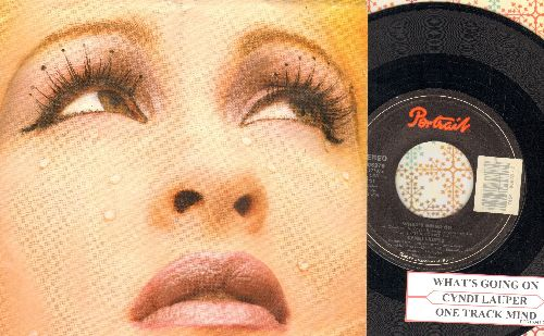 Lauper, Cyndi - What's Going On/One Track Mind (with picture sleeve ad juke box label) - NM9/EX8 - 45 rpm Records