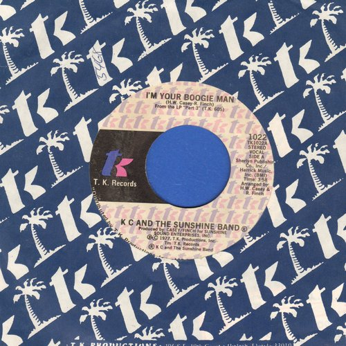 K.C. & The Sunshine Band - I'm Your Boogie Man/Wrap Your Arms Around Me (with company sleeve) - EX8/ - 45 rpm Records