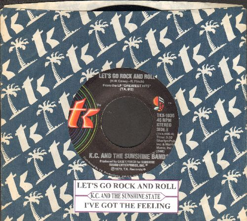 K.C. & The Sunshine Band - Let's Go Rock And Roll/I've Got The Feeling (with company sleeve and juke box label) - NM9/ - 45 rpm Records