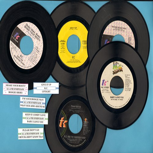 K.C. & The Sunshine Band - Disco 5-Pack of first issue 45s with juke box labels! Hits include Shake Your Booty, Give It Up, Keep It Comin' Love, Please Don't Go and I'm Your Boogie Man. GREAT for a juke box! - EX8/ - 45 rpm Records