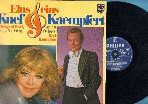 Knef, Hildegard, Bert Kaempfert - Eins & Eins - Knef & Kaempfert: Fur mich soll's rote Rosen regnen, Aber schoen war es doch, Von nun an ging's bergab, Danke schoen (Vinyl STEREO LP record, German Pressing, sung in German) - NM9/EX8 - LP Records