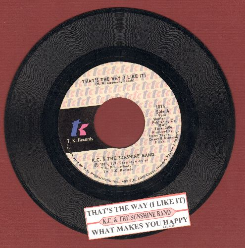 K.C. & The Sunshine Band - That's The Way (I Like It)/What Makes You Happy (with juke box label) - EX8/ - 45 rpm Records