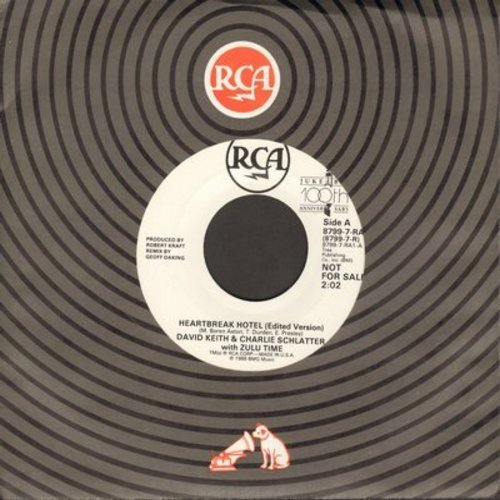 Keith, David & Charles Schlatter with Zulu Time - Heartbreak Hotel (DJ advance pressing with 2:25 minutes version + 2:02 minutes version) - NM9/ - 45 rpm Records