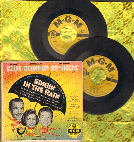 Kelly, Gene, Debby Reynolds, Donald O'Connor - Singng In The Rain: 2 vinyl EP records in gate-fold cover) - VG6/VG6 - 45 rpm Records