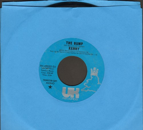 Kenny - The Bump (DJ advance pressing with MONO and STEREO version of hit) - NM9/ - 45 rpm Records
