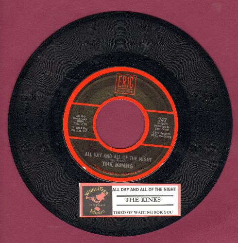 Kinks - All Day And All Of The Night/Tired Of Waiting For You (double-hit re-issue with juke box label) - NM9/ - 45 rpm Records